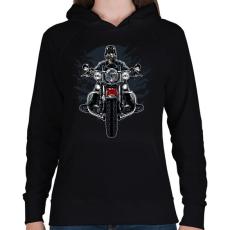 PRINTFASHION Vad motoros - Női kapucnis pulóver - Fekete