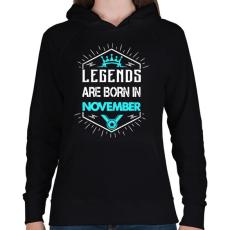 PRINTFASHION A legendák novemberben születnek - Női kapucnis pulóver - Fekete
