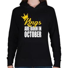 PRINTFASHION A királyok októberben születnek - Női kapucnis pulóver - Fekete