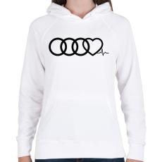 PRINTFASHION AUDI Love - Női kapucnis pulóver - Fehér