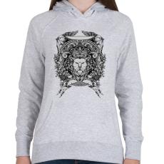 PRINTFASHION Oroszlán trón - Női kapucnis pulóver - Sport szürke