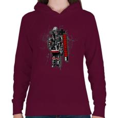 PRINTFASHION Real Brotherhood - Női kapucnis pulóver - Bordó