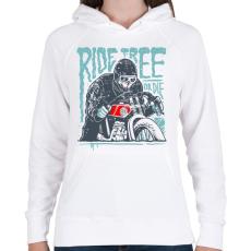 PRINTFASHION Ride Free - Női kapucnis pulóver - Fehér