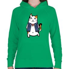 PRINTFASHION Menő macska - Női kapucnis pulóver - Zöld