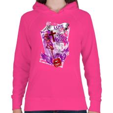 PRINTFASHION LOVE - Női kapucnis pulóver - Fukszia