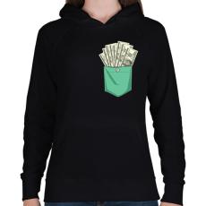 PRINTFASHION ZSEB-Dollár - Női kapucnis pulóver - Fekete