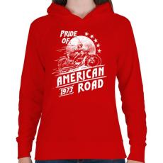 PRINTFASHION Amerika büszkesége - Női kapucnis pulóver - Piros