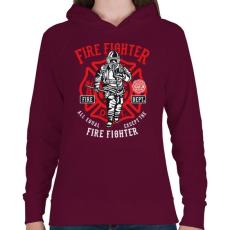 PRINTFASHION Tűzoltó - Női kapucnis pulóver - Bordó