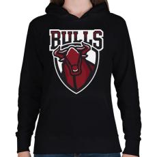 PRINTFASHION Bulls - Női kapucnis pulóver - Fekete