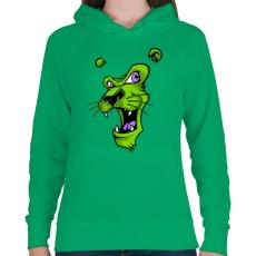 PRINTFASHION Oroszlánmosoly - Női kapucnis pulóver - Zöld