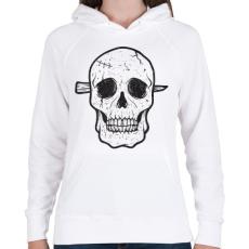 PRINTFASHION Koponya - Női kapucnis pulóver - Fehér