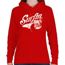 PRINTFASHION Szörf USA - Női kapucnis pulóver - Piros