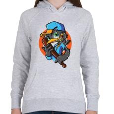 PRINTFASHION Baseball madár - Női kapucnis pulóver - Sport szürke