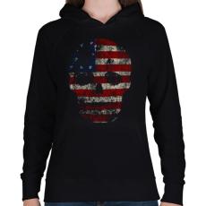 PRINTFASHION Amerikai koponya - Női kapucnis pulóver - Fekete