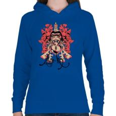 PRINTFASHION Majom bosszú - Női kapucnis pulóver - Királykék