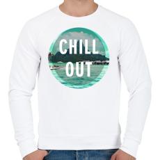 PRINTFASHION Chill Out - Férfi pulóver - Fehér