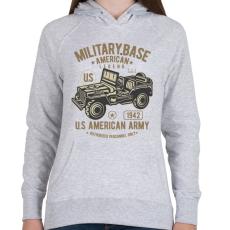 PRINTFASHION Amerikai katonai jeep - Női kapucnis pulóver - Sport szürke
