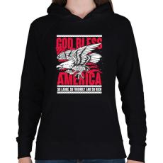 PRINTFASHION Isten Áldjon Amerika - Női kapucnis pulóver - Fekete