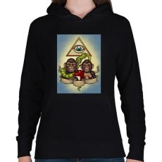 PRINTFASHION Majmok - Női kapucnis pulóver - Fekete