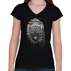 PRINTFASHION Jaguár - fehér - Női V-nyakú póló - Fekete
