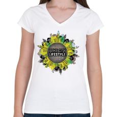PRINTFASHION Szeretem a várost - Női V-nyakú póló - Fehér