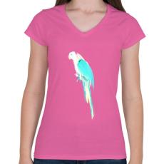 PRINTFASHION Summer parrot - Női V-nyakú póló - Rózsaszín