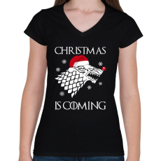 PRINTFASHION Christmas is coming! - Női V-nyakú póló - Fekete