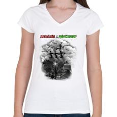 PRINTFASHION Dicsőség a Hősöknek!  - Női V-nyakú póló - Fehér