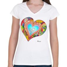 PRINTFASHION sziv2 - Női V-nyakú póló - Fehér