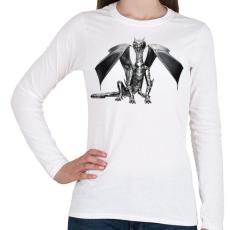 PRINTFASHION Acélsárkány - Női hosszú ujjú póló - Fehér