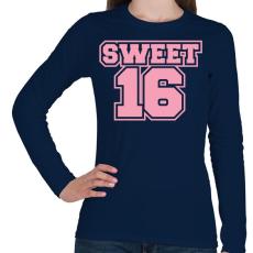 PRINTFASHION Sweet 16 - Női hosszú ujjú póló - Sötétkék