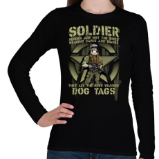 PRINTFASHION Dog Tags - Női hosszú ujjú póló - Fekete