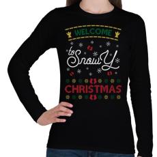 PRINTFASHION Fehér karácsony - Női hosszú ujjú póló - Fekete