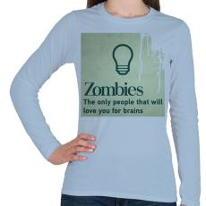 PRINTFASHION Zombies - Női hosszú ujjú póló - Világoskék