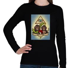 PRINTFASHION Majmok - Női hosszú ujjú póló - Fekete