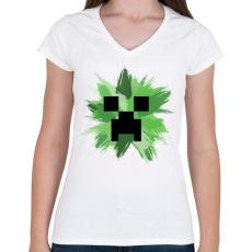 PRINTFASHION Minecraft Creeper - Női V-nyakú póló - Fehér