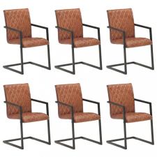 6 db barna valódi bőr szánkótalpas étkezőszék bútor