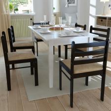 6 db fa szögletes étkezőszék barna bútor