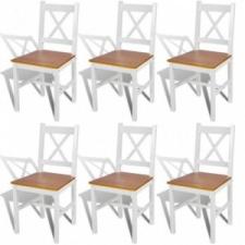 6 db fehér és természetes fa étkezőszék bútor