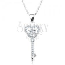 925 ezüst nyakék - lánc medállal, cirkóniás kulcs - szív, virág nyaklánc