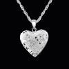 925 Sterlng ezüst szív alakú képtartó függő medál nyaklánccal