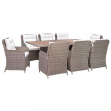 9 részes barna kültéri polyrattan étkezőgarnitúra párnákkal kerti bútor