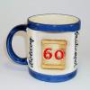 Ablakos bögre Évszámos 60 éves (Fehér, kék csíkkal)