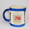 Ablakos bögre Évszámos 70 éves (Fehér, kék csíkkal)
