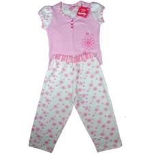 Adams csíkos-virágos pizsama, rózsaszín, rövid ujjú gyerek hálóing, pizsama