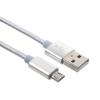 Adatkábel, Micro USB, 3 méter, szőtt cipőfűző minta, ezüst