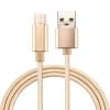 Adatkábel, USB Type-C, 1 méter, szőtt cipőfűző minta, arany