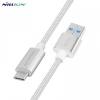Adatkábel, USB Type-C - USB, 1 méter, Nillkin, cipőfűző minta, ezüst