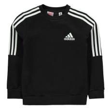 Adidas gyerek pulóver - adidas 3 Stripe Logo Crew Sweatshirt Junior Boys Black White