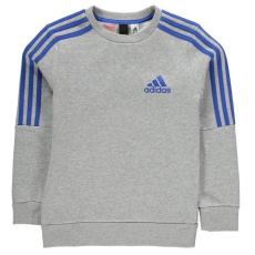 Adidas gyerek pulóver - adidas 3 Stripe Logo Crew Sweatshirt Junior Boys Grey Blue